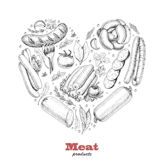 Vector heart of meat products