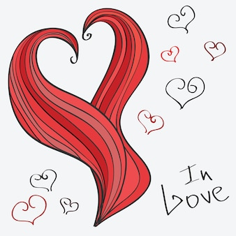 Vector heart. romantic hand-drawn illustration in doodle style