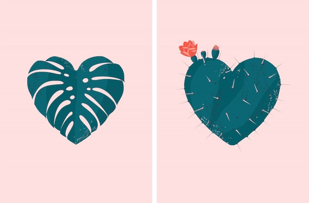 Vector heart shaped tropical plant set of monstera leaf and blooming cactus
