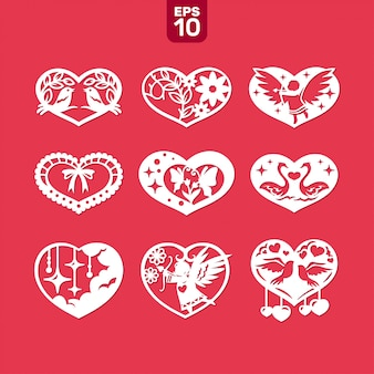 Vector hearts set for wedding and valentine