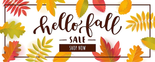 Vector hello fall sale horizontal promotion banner. falling autumn leaves with shadows isolated on white background