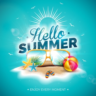Vector hello summer holiday illustration with typography letter and sunglasses