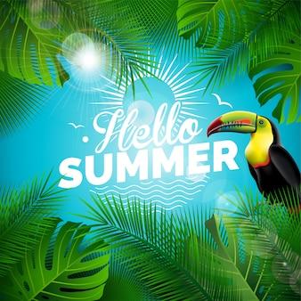 안녕하세요 여름 휴가 인쇄상의 일러스트 벡터