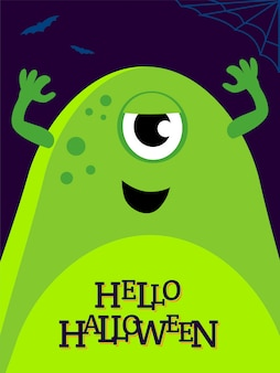 Vector helloween illustration with funny monster