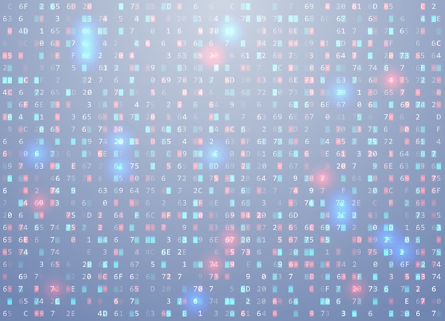 Vector hex code background with highlight an important element, error, memory vulnerability.