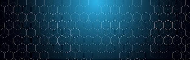 Векторный дизайн баннера шестиугольника с абстрактным фоном шестиугольника