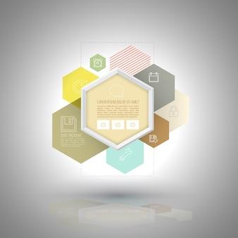 ビジネスダイアグラムのベクトル六角形グループの使用