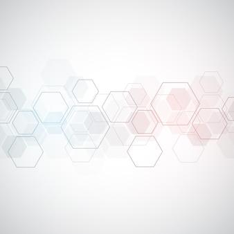 벡터 육각형 패턴입니다. 간단한 육각 요소와 기하학적 추상 배경입니다. 의료, 기술 또는 과학 디자인.