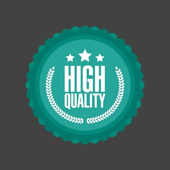 Vector high quality flat badge sign, round label.