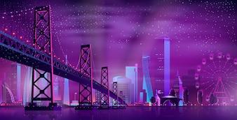 遊園地へのベクトル蝶番を付けられた橋