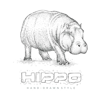 Vector hippo is running, animal logo hand drawn