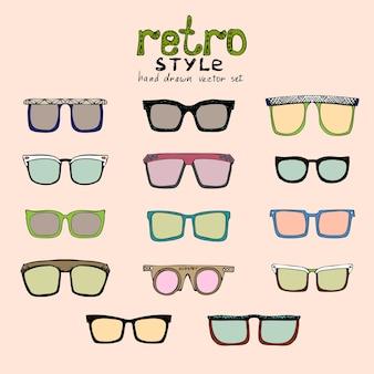 さまざまな色のベクトルヒップスターレトロメガネ
