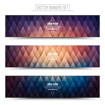 Vector hipster web banners set