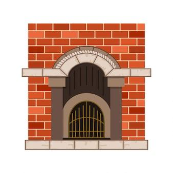Вектор домашний камин. старинный дизайн каменной печи с металлическими декоративными элементами. плоский дизайн иконок. изолированных иллюстрация