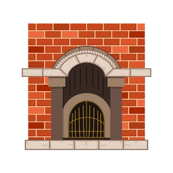 Vector home fireplace. vintage design of stone oven with metal decorative elements. flat icon design. illustration isolated