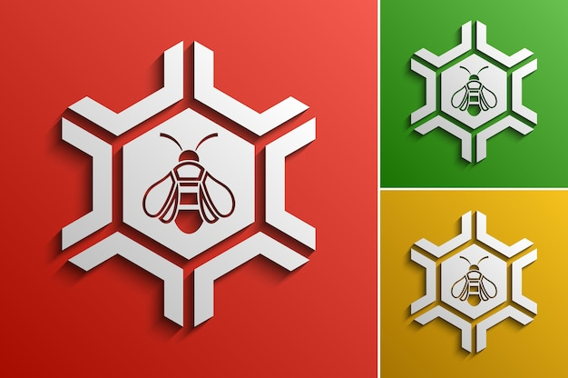 Vector honey bee logotype design template, stylized business logo idea