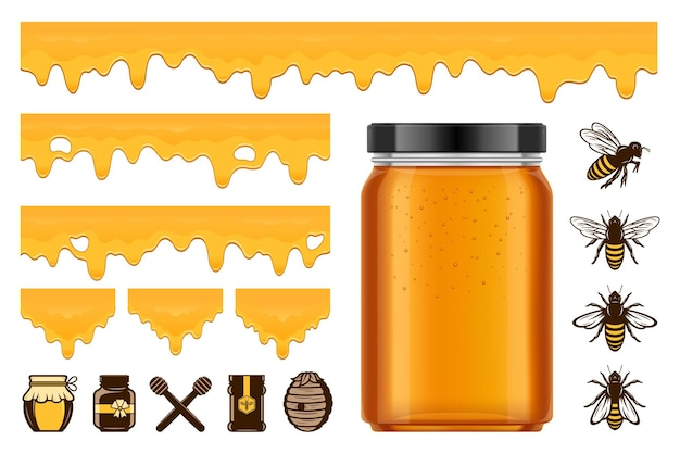 Vector honey, bees and jars