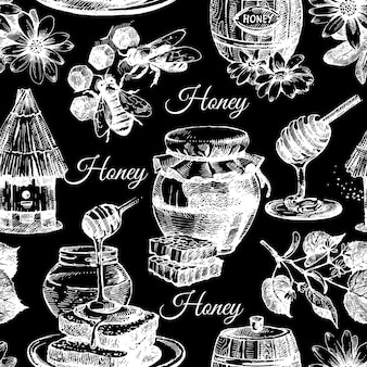 Vector honey seamless pattern with hand drawn sketch illustration