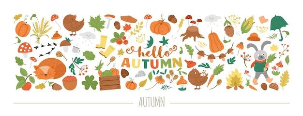 Vector horizontal autumn set with animals, plants, leaves, bell, pumpkins. fall season design