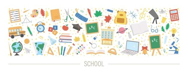 Vector horizontal back to school set with cute schoolbag, pencil, alarm, bell, blackboard