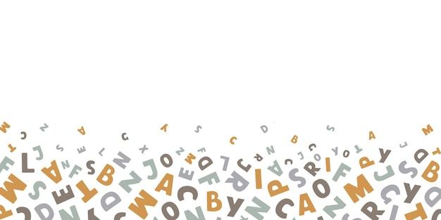 Вектор горизонтальный баннер с красочными английскими буквами летают на белом фоне с местом для текста Premium векторы