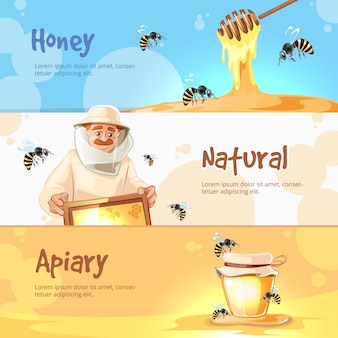 Vector horizontal banners set of apiary