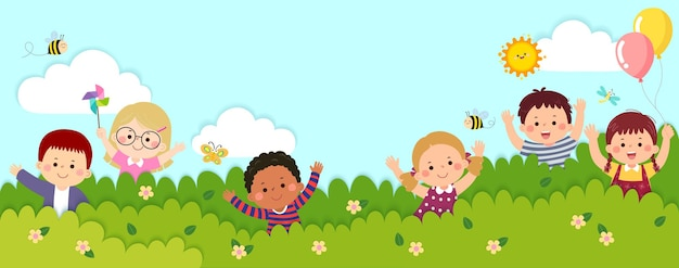 종이 컷 스타일로 덤불 뒤에 서 있는 행복한 아이들이 있는 벡터 가로 배너