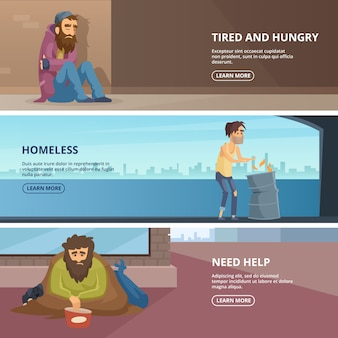 Vector horizontal banners with illustrations of poor and homeless peoples