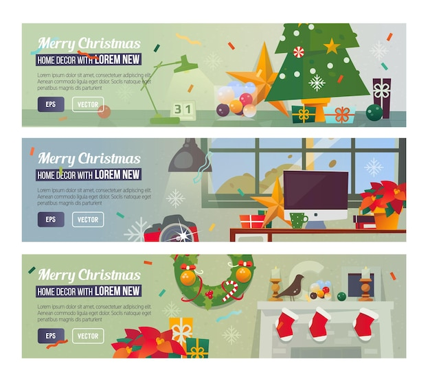 Vector horizontal banners with merry christmas and happy new year interior workplace decorations