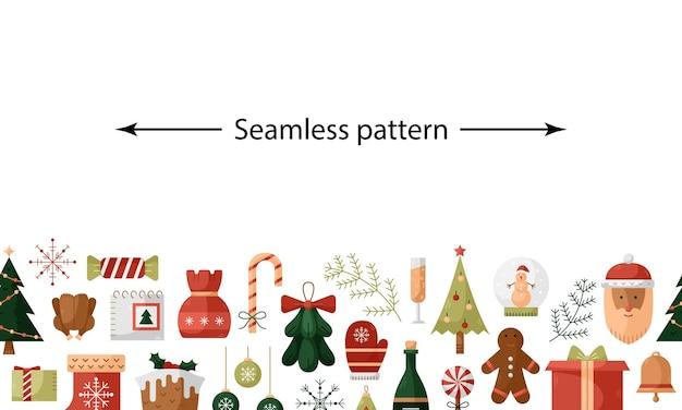 フラットアイコンでベクトル水平クリスマスパターン。新年のイラスト