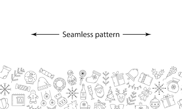 アウトラインアイコンでベクトル水平クリスマスパターン。新年のイラスト