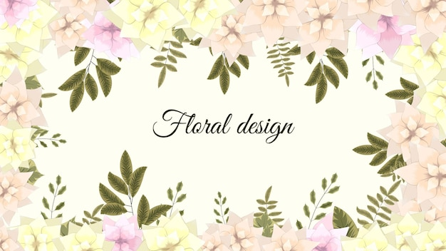 Vector horizontal flower floral banner background with text place