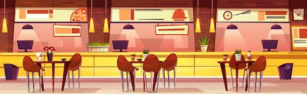 カフェとベクトル水平図。テーブルと椅子のある居心地の良いインテリアを漫画します。明るい調度品