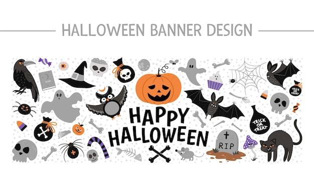 Векторная рамка горизонтального плана с элементами хэллоуина. набор клипартов для традиционной вечеринки samhain. страшный дизайн для веб-баннеров, плакатов, приглашений. шаблон карты праздник милый осень.