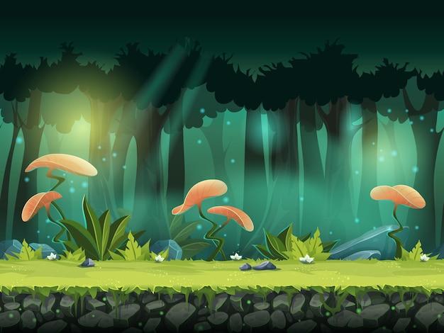Горизонтальные бесшовные векторные иллюстрации леса с мистическими цветами