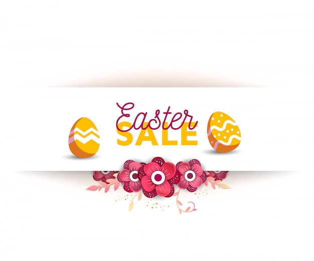 Vector horizontal template for sale banner for happy easter