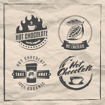 Vector hot chocolate logos cacao drink badges set of retro stickers on vintage paper backgroun