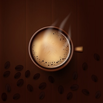 Vector hot coffee cup on wood background