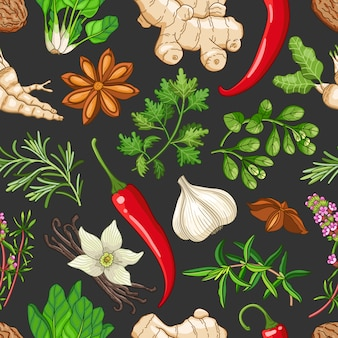 Vector hot pattern with herbs on dark