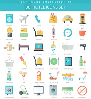 Vector hotel color flat icon set. elegant style design.