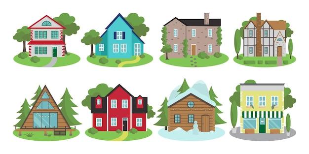 Вектор экстерьеры дома в разных архитектурных стилях