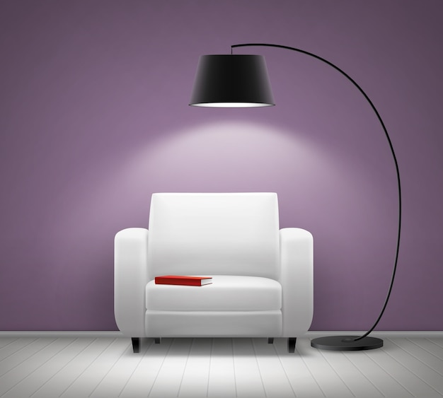 Vector house interior with white armchair, black floor lamp, red book and violet wall front view