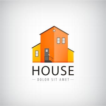 ベクトルの家のロゴ、不動産のロゴ、村の建物、町のロゴ。家賃、投資ロゴ