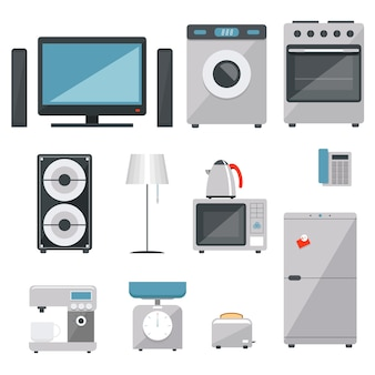 Vector household appliances icons set