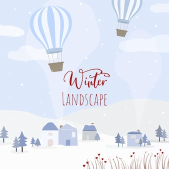 Vector of houses, balloon and snow-covered forests