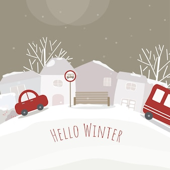 Vector of houses, car and snow-covered forests