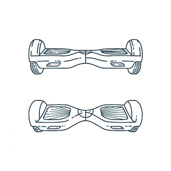 Vector hover boards in linear style