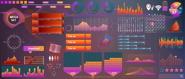 デザインとアプリのデバイスのための要素のベクトルhudの大きなセット