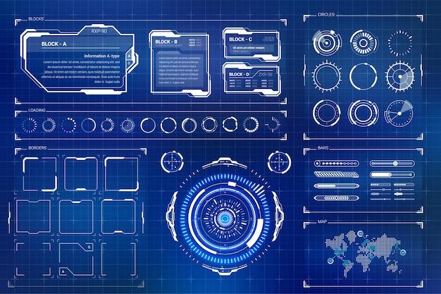 미래형 사용자 인터페이스를위한 벡터 hud 요소 세트