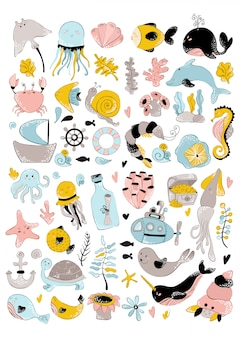 Vector huge set - sea animal, plant, coral, cute characters